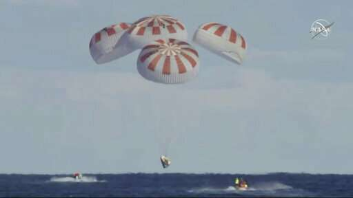 SpaceX crew capsule ends test flight with ocean splashdown
