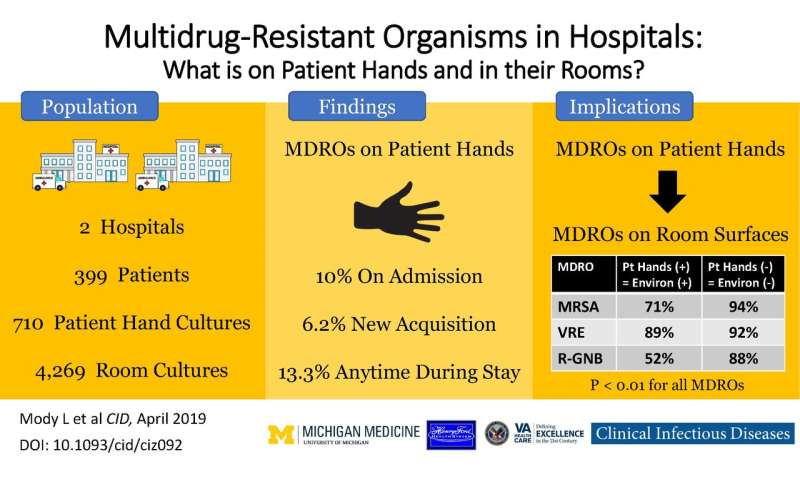 """Superbugs"" found on the hands of many hospitalized patients and what they most often affect"