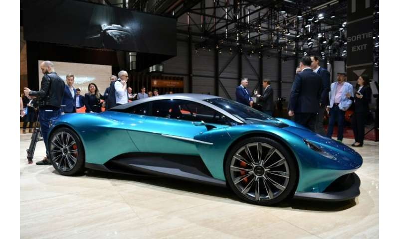The Aston Martin Vanquish Vision Concept car cuts a dash at the Geneva Motor Show which runs until March 17