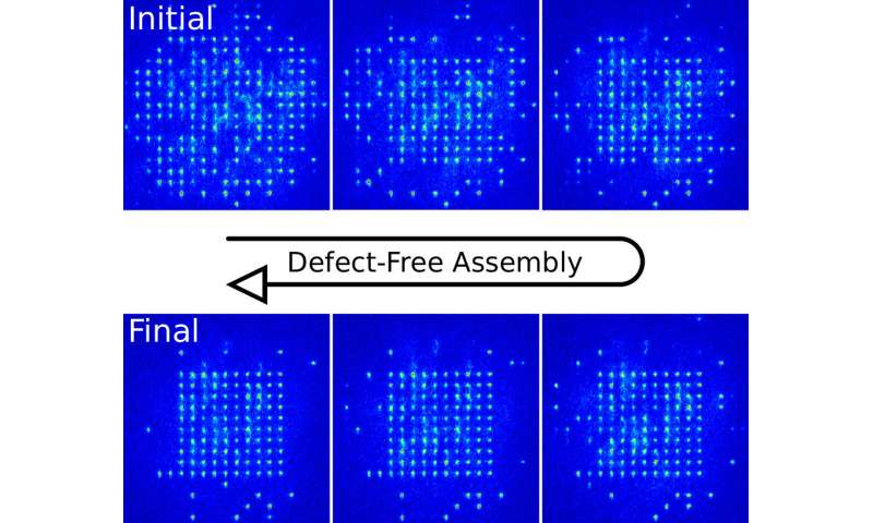 ** Defect-free badembly of 2-D clusters with more than 100 single-atom quantum systems