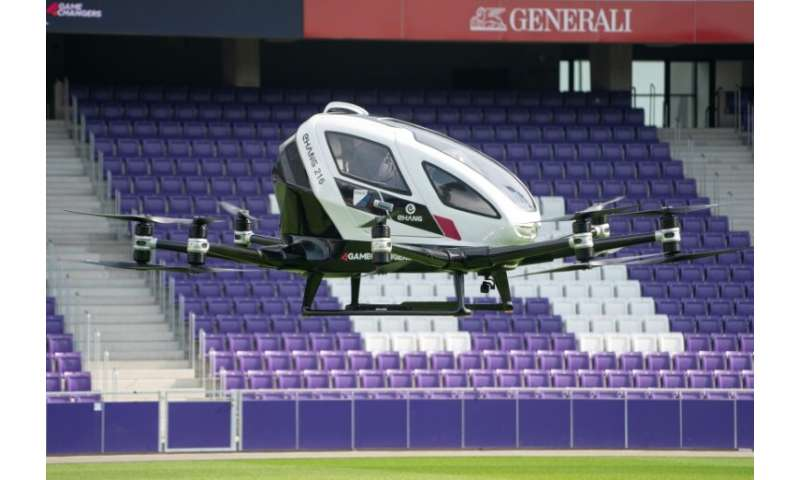 The 'drone taxi' managed a vertical hop of about 10 metres