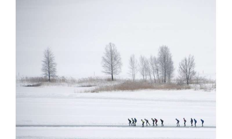 The frozen Weissensee lake in southern Austria hosts the annual Dutch skating event that covers 200 kilometres (124 miles)