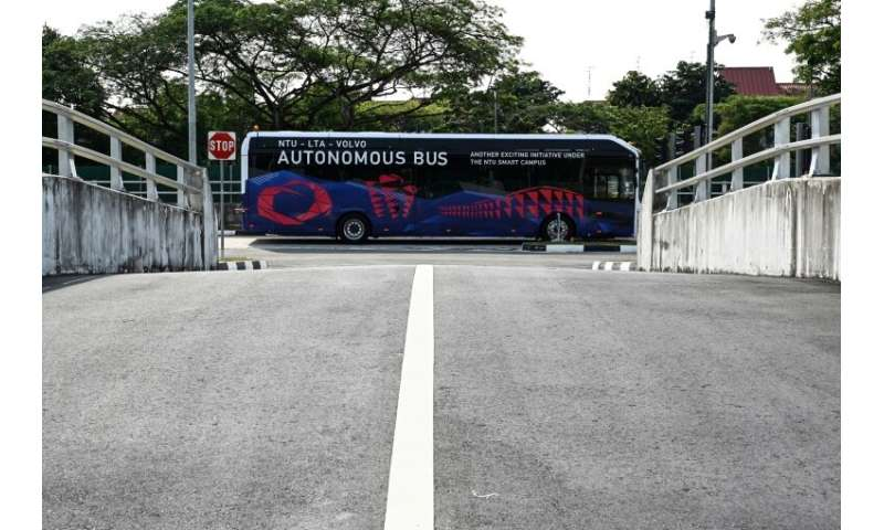 The Volvo electric driverless bus is put through its paces at a testing track in Singapore