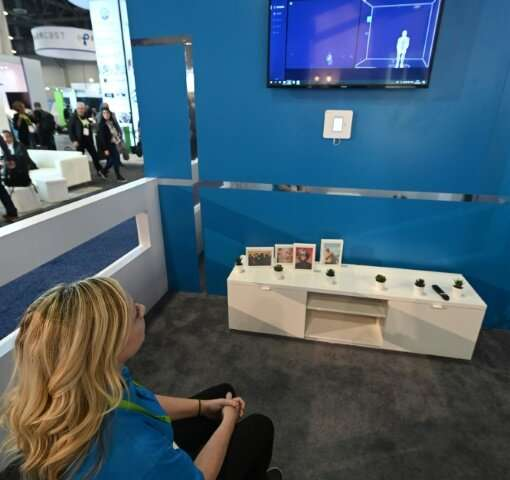 The Walabot fall detection device for seniors from Israeli startup Vayyar is displayed at the 2019 Consumer Electronics Show