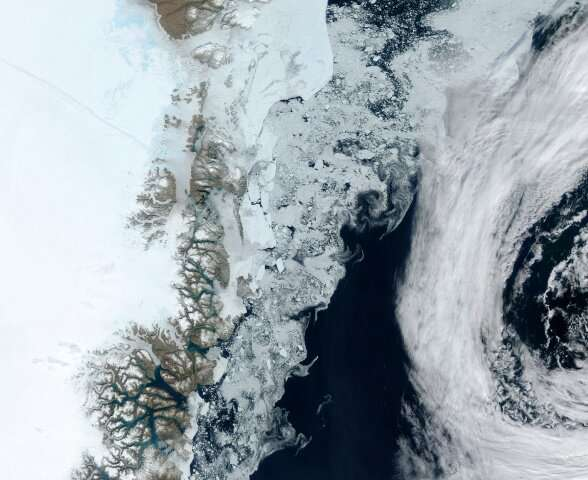 The Zachariae Glacier on Greenland's east coast is seen in a photograph taken by a NASA satellite