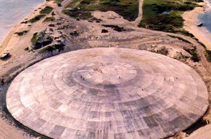 This 1980 picture released by the US Defense Nuclear Agency shows a huge dome over a crater left by a nuclear test blast. The do