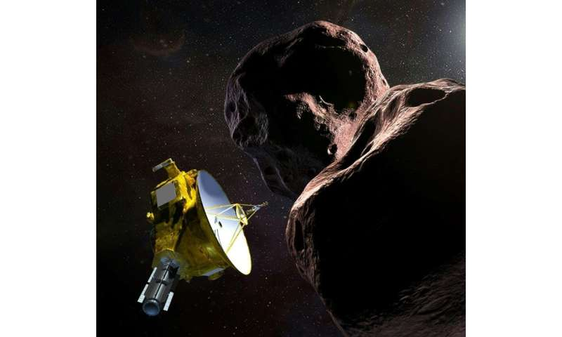 """This artist's illustration obtained from NASA shows the New Horizons spacecraft encountering 2014 MU69 –- nicknamed """"Ultima"""
