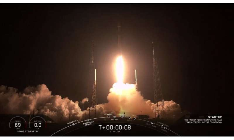 This screengrab taken from the SpaceX webcast transmission on May 23, 2019, shows a SpaceX Falcon 9 rocket with 60 Starlink sate