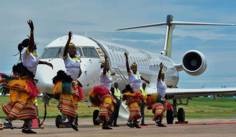 Two Bombardier CRJ900 jet airliners, which can carry up to 90 people each, landed at Entebbe airport outside the capital Kampala