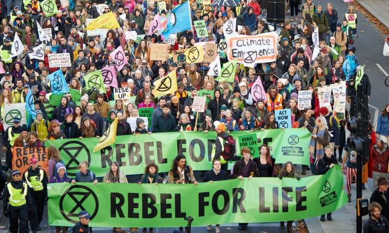 The extinction rebellion in the UK