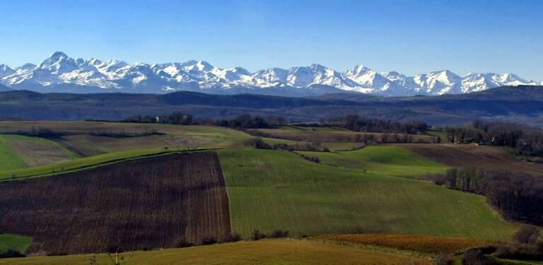 View of snow covered peaks in the Areige region of the Pyrenees Mountains that separate France and Spain, the region where scien