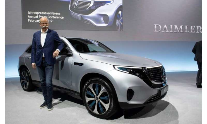 Zetsche with Mercedes' first all-electric car, the EQC, slated to hit showrooms in the second half of this year