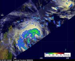 2 NASA satellites see a newborn tropical storm near Madagascar