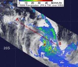 NASA's TRMM sees Depression 10P strengthen into Tropical Storm Nisha