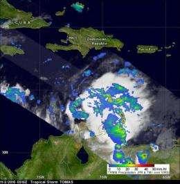 NASA satellite sees Tomas weaken to a tropical depression ... for now