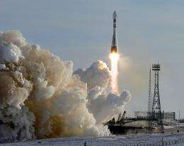 A Russian Soyuz rocket carrying part of the Galileo system blasts off at the Baikonur Cosmodrome in Kazakhstan in 2005