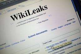 The homepage of the WikiLeaks.org website is seen on a computer after leaked classified military documents were posted