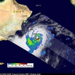 NASA satellites see monster Cyclone Phet slamming northeastern Oman today