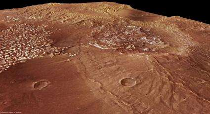 Rocky mounds and a plateau on Mars