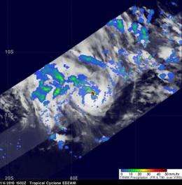 2 NASA satellites see Edzani power up in clouds and rainfall