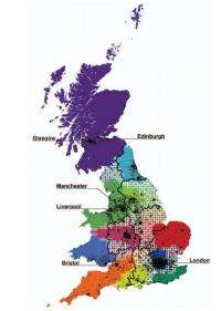 Redrawing the map of Great Britain based on human interaction