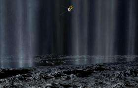 Enceladus leaves plasma bubbles in its wake