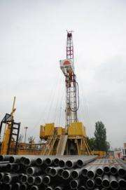 A a geothermal borehole beng drilled