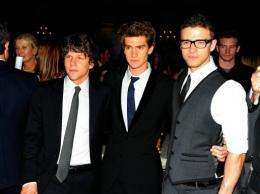"""Actors (L-R) Jesse Eisenberg, Andrew Garfield and Justin Timberlake promote their new film """"The Social Network"""""""