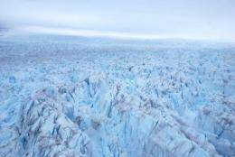 An aerial view of the ice glacier of Ilulissat, Greenland