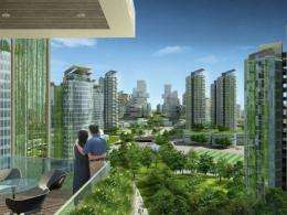 "An artists impression of an ""eco-city"" which is now under construction near the port city of Tianjin"