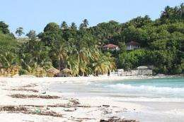 An empty beach is seen in the Ile a Vache, a paradise island in front of the city of Les Cayes, Haiti