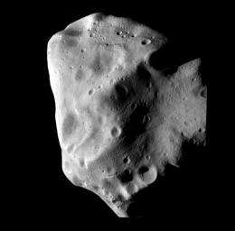 An image released by the ESA shows the Lutetia asteroid at closest approach from the Rosetta spacecraft