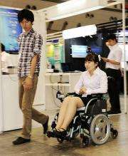 A robotic wheelchair, developed by Saitama University's professor Yoshinori Kobayashi