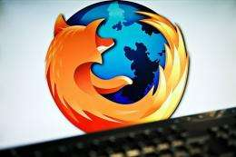 A screen displays the logo of the open-source web browser Firefox