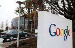 A sign is posted outside of the Google headquarters in Mountain View, California