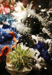 """A view of the exhibit """"Hyperbolic Crochet Coral Reef"""""""