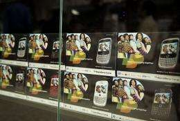 BlackBerry mobile phones are displayed at a shop in New Delhi in August 2010