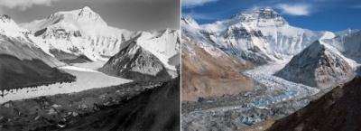 Comparing precisely matched photographs, Breashears determined that the Rongbuk had dropped some 320 feet in depth