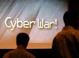 """""""Cyber war!"""" flashes on the screen at an Internet security conference"""