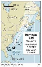 Earl's path along northeast is not well-worn (AP)
