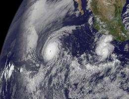 GOES-13 captures 2 major hurricanes: Darby trailing Celia