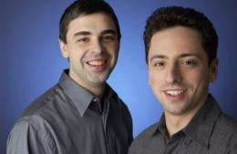 Google co-founders Larry Page (L) and Sergey Brin launched the search engine in 1998