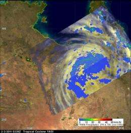 NASA measuring Tropical Storm Yasi's inland rainfall from space