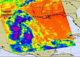 NASA satellites see high, cold thunderstorm cloud tops in Tropical Depression 2