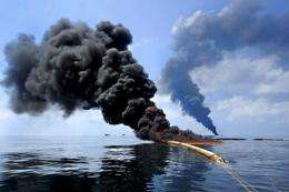 Oil burn during a controlled fire in the Gulf of Mexico