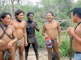 "Part of an ethnic group known as ""Ayoreos totobiegosode silvicolas"" approach other members of their tribe"