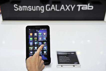 "Samsung's tablet device the ""Galaxy Tab"" is on display in 2010"