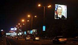 The illuminated billboard welcoming US President Barack Obama is seen in Mumbai