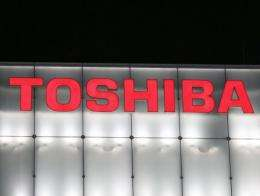 The logo of Japanese firm Toshiba is seen in central Tokyo