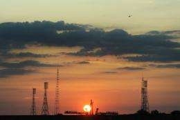 The sun rises over the launch pad at Kazakhstan's Russian-leased Baikonur cosmodrome in 2009